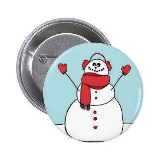 Cute Snowman 6 Cm Round Badge