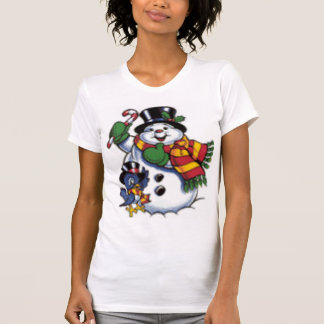 Cute Snowman And Bluebird T-Shirt