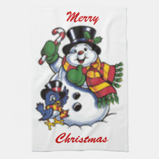 Cute Snowman And Bluebird Tea Towel