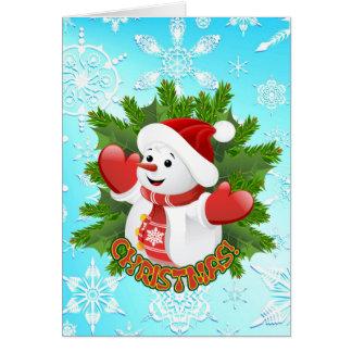 Cute Snowman and Crystal Snowflakes Christmas Card