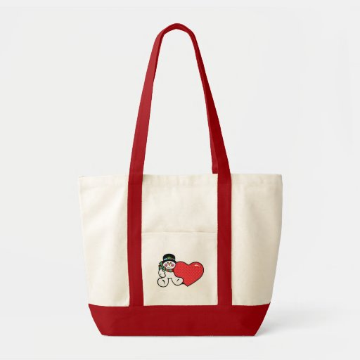 cute snowman and heart tote bags