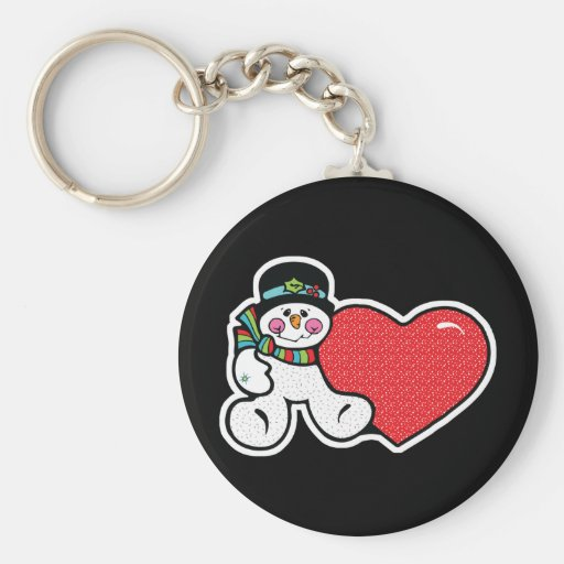 cute snowman and heart key chain