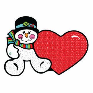 cute snowman and heart photo cutout