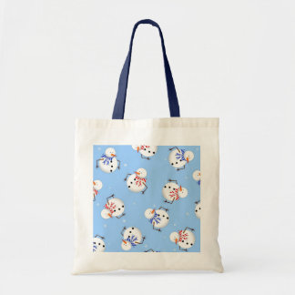Cute Snowman and Snowflake Print Tote Bag