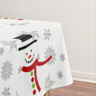 Cute Snowman and Snowflakes Holiday Tablecloth