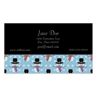 Cute Snowman and Snowflakes Pattern Business Card Templates