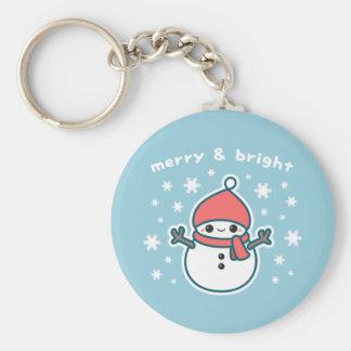 Cute Snowman Basic Round Button Key Ring