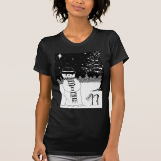 Cute snowman black & white Christmas illustration T-shirts