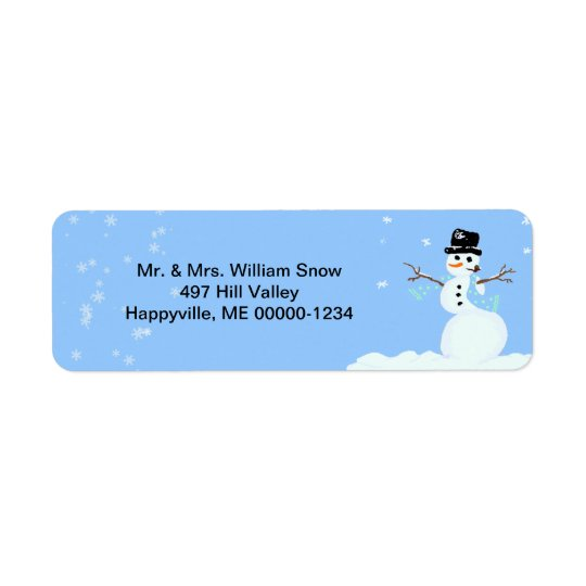 Cute Snowman Blue Holiday Address Labels
