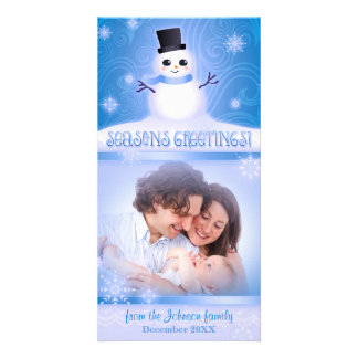 """Cute Snowman Blue """"Seasons Greetings"""" Holiday Picture Card"""