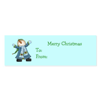 Cute Snowman Christmas Gift Tags Double-Sided Mini Business Cards (Pack Of 20)