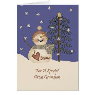 Cute Snowman Christmas Great Grandson Greeting Card