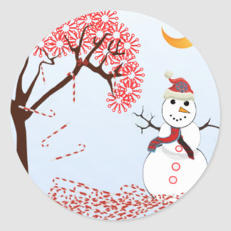 Cute Snowman Classic Round Sticker