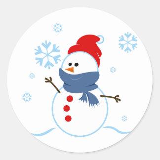Cute Snowman Classic Round Sticker