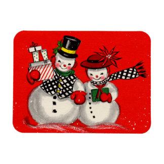Cute Snowman Couple Rectangular Photo Magnet