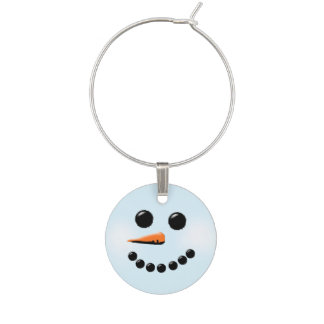 Cute Snowman Face Winter Holiday Snowmen Wine Charm