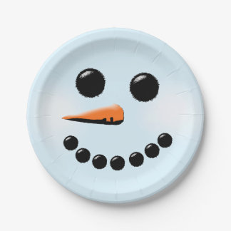 Cute Snowman Face Winter Holiday Snowmen Xmas Paper Plate