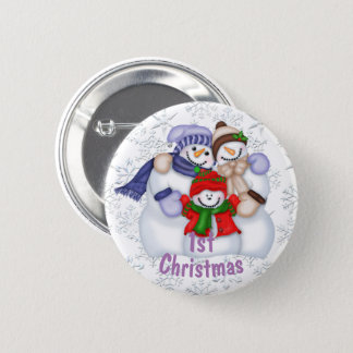 Cute Snowman Family Baby's 1st Christmas 6 Cm Round Badge