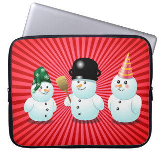 Cute Snowman Family Cartoon Laptop Sleeves