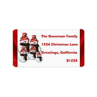 Cute Snowman Family Of Five Return Address Labels