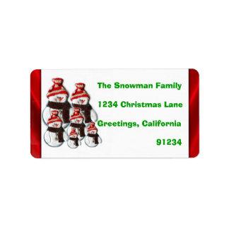 Cute Snowman Family Of Six Return Address Labels