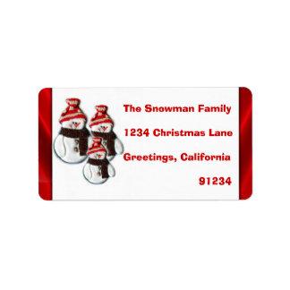 Cute Snowman Family Of Three Return Address Labels