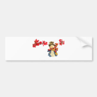 Cute snowman figurine with red berries on white bumper sticker