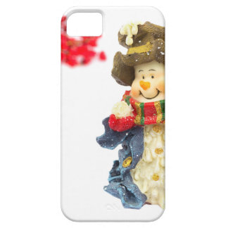 Cute snowman figurine with red berries on white case for the iPhone 5
