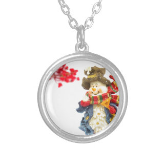 Cute snowman figurine with red berries on white silver plated necklace
