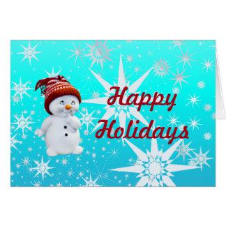 Cute Snowman Happy Holidays Blank Greeting Card