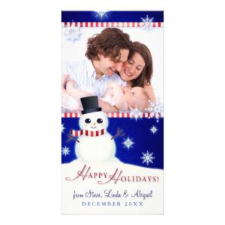Cute Snowman Happy Holidays Custom Photo Greeting Card
