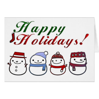 Cute Snowman Happy Holidays Greeting Card