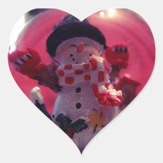 Cute Snowman Heart Sticker