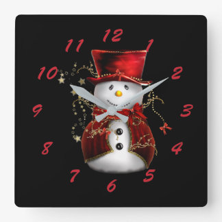 Cute Snowman in Red Velvet Christmas Square Wall Clock