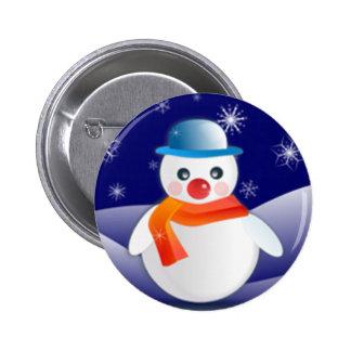 Cute Snowman In Winter Scene Pinback Buttons
