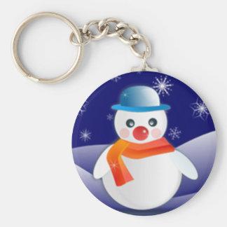 Cute Snowman In Winter Scene Keychain