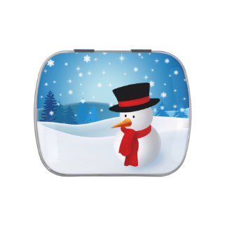 Cute Snowman Jelly Belly Tins