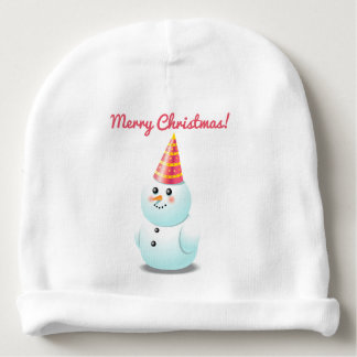 Cute Snowman Lady With Pink Party Hat Baby Beanie