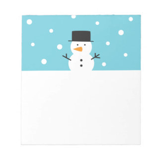 Cute Snowman on snow background for Christmas Notepad
