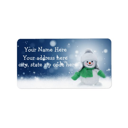 Cute Snowman Personalised Address Labels