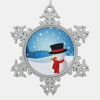 Cute Snowman Pewter Snowflake Decoration