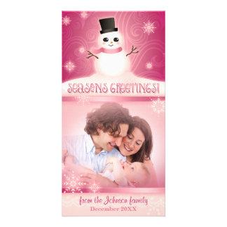 Cute Snowman Pink Seasons Greetings Custom Photo Greeting Card