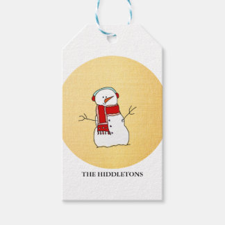 Cute Snowman Red Scarf Gold Modern Holiday