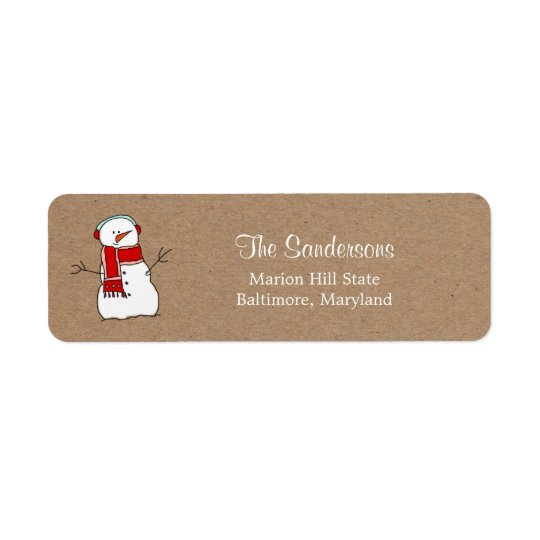 Cute Snowman Red Scarf Kraft Paper Holiday Return Address Label