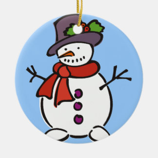 Cute Snowman Round Ceramic Decoration