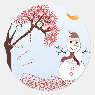 Cute Snowman Round Stickers