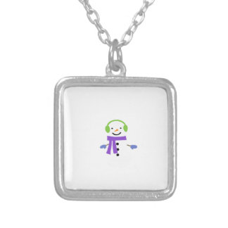 CUTE SNOWMAN SILVER PLATED NECKLACE