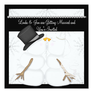 CUTE Snowman Wedding Invitations with Snowflakes
