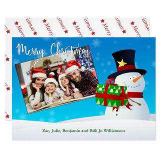 Cute Snowman With a Gift and Your Photo Card