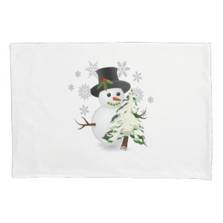 Cute Snowman with Christmas Tree Pillow Case